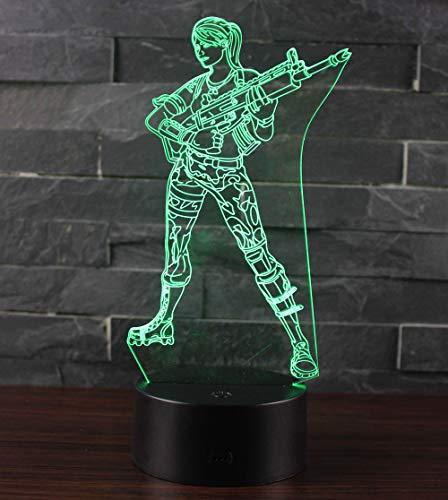 3D Illusion Nuit Lumière Win-Y LED Bureau Table Lampe 7 Couleur Tactile Lampe Maison Chambre Bureau Décor pour Enfants D'anniversaire De Noël Cadeau (Gril)