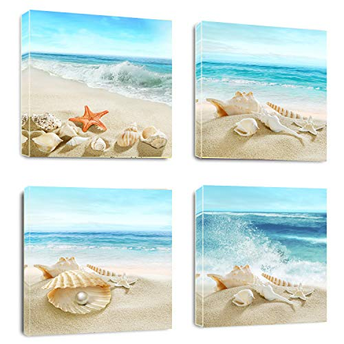 Bathroom Wall Art Canvas Prints- Sand Beach Shells Starfish Picture Painting- Modern Wall Artwork Framed for Home Office Decor-12x12inchx4pcs
