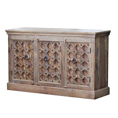 Casa Moro | Orientalisches Sideboard Farnaz 150x40x90 cm (B/T/H) 3 türig mit geschnitzer Front aus recyceltem Altholz im Kolonial-Stil | schmale Echtholz Kommode für einfach schöner Wohnen | CA558250