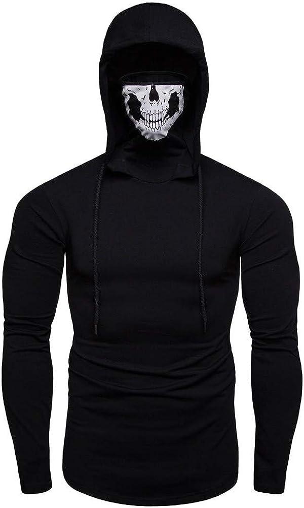 MODOQO Men's Pullover Hoodies Long Sleeve Casual Lightweight Pullover Sweatshirt with Skull Mask