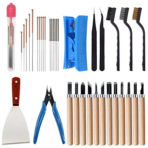 Huante 35 Pieces of 3D Printer Tool Kit 7 Sizes of Cleaning Pins Tweezers Pliers Scraper Cleaning Brush Cleaning Knife