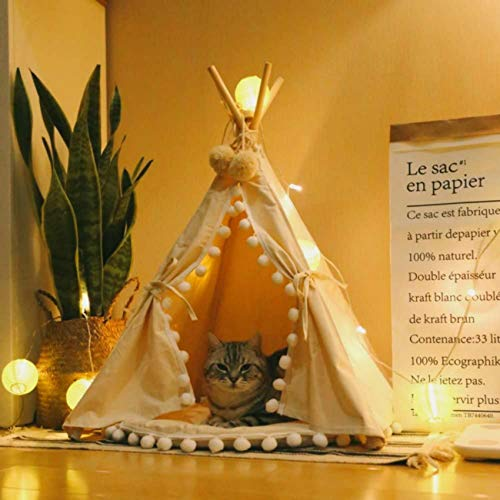 Little Dove Pet Teepee House Indian Tents Wood Canvas Teepee Foldaway Pet Tent