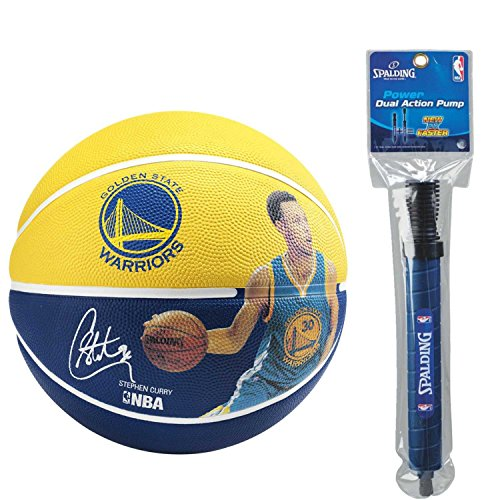 Buy Discount Spalding NBA Stephen Curry Player Basketball with Dual Action Pump