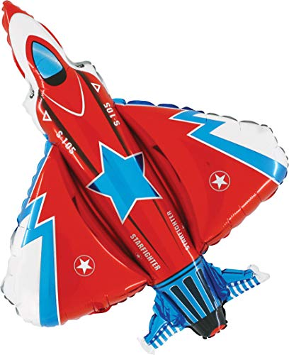 "Red White and Blue Fighter Jet Jumbo 38"" Foil Party Balloon"
