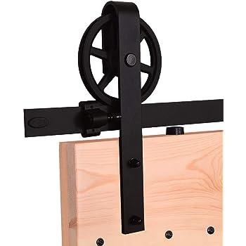 CCJH 6.6FT-200cm Quincaillerie Kit de Rail Roulettes pour Porte Coulissante Hardware pour Deux Portes Suspendue en Bois Sliding Barn Door Hardware T Shaped