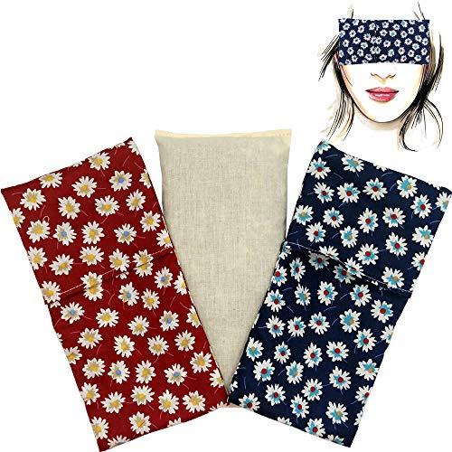 Almohada para los ojos'Pack Duo Margaritas' (1 relleno y 2 fundas lavables) | Semillas de Lavanda y semillas de arroz | Yoga, Meditación, Relajación, descanso de ojos.
