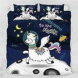 Unicornio Alpaca Juego De Cama 3D Impreso Dibujos Animados Espacio Luna Estrella Funda Nordica Microfibra PoliéSter Textiles NiñOs Adulto, 200x200cm, 3 Piezas (1 Funda NóRdica 2 Funda Almohada)