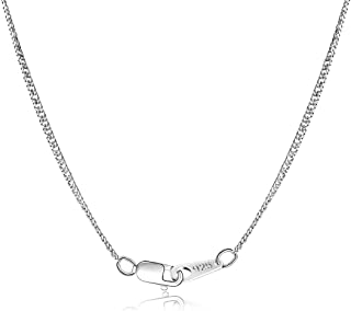 18K White Gold Plated 925 Sterling Silver Chain 1.5mm Curb Chain - Italian Necklace Chain for Women Girls Ladies - Friendly Price & Quality 16/18 / 20 Inch