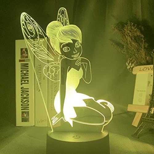 Led Nachtlicht Lampe Fairy Tinkerbell Figur Nachtlicht Für Home Decoration Farbwechsel Tischlampe Prinzessin Tinker Bell Geschenke-16 Farben Mit Fernbedienung