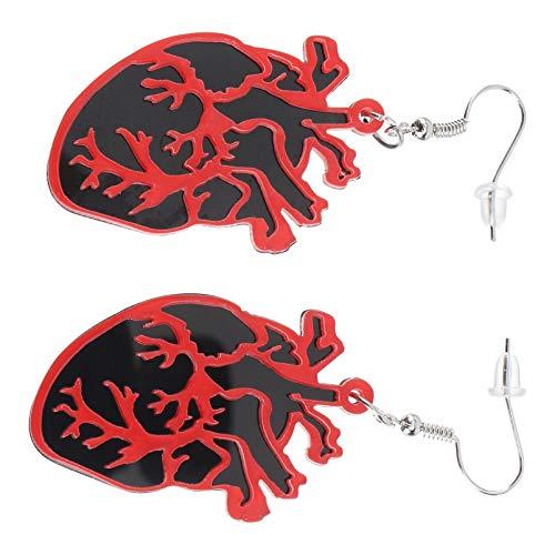 Holibanna 1 par de Pendientes de Corazón Exagerados Pendientes Divertidos de Novedad Pendientes de Joyería Antiguos de La Vendimia (Rojo)