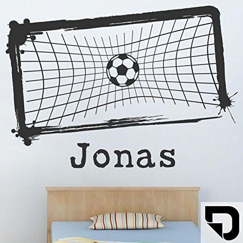 DESIGNSCAPE® Wandtattoo Fußballtor mit Wunschname | Fussball mit Wunschname Jungenzimmer 80 x 58 cm (Breite x Höhe) schwarz DW808175-S-F4