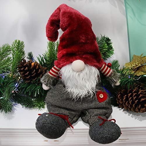 Handmade Plush Gnome Figurines Plush Swedish Tomte Nisse Sitting Christmas Gnome