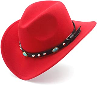 SHENTIANWEI Fashion Men Women Western Cowboy Hat with Punk Belt Pop Wide Brim Jazz Hat Sombrero Hat Winter Outdoor Church Hat Size 56-58CM