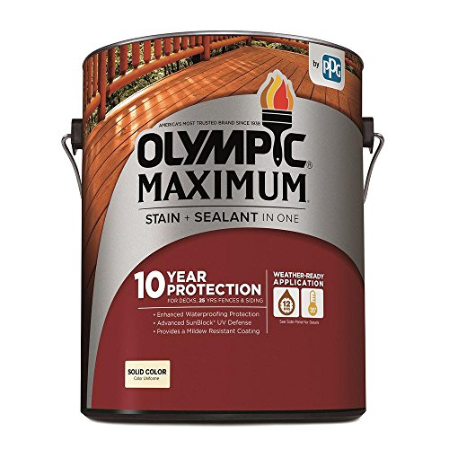 OLYMPIC/PPG ARCHITECTURAL 79601A/01 Gallon, Exterior, Acrylic, Solid Color, White Base Maximum Deck