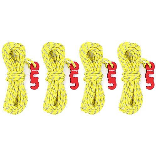 DingGreat 4Pcs Cuerdas Tipo Tienda de campaña, Paquete de 3 mm Línea Reflectante Cuerda guía Tienda de campaña con ajustador de Aluminio