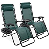 Best Choice Products Set of 2 Adjustable Steel Mesh Zero Gravity Lounge Chair Recliners w/Pillows and Cup Holder Trays, Forest Green