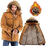 Yozai Mens Winter Military Warm Jacket Fleece Coat with Detachable Fur Hood...