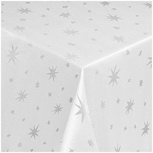 MODERNO Lurex Sterne Tischdecke Eckig 130x220 cm Weiss Silber, Weihnachtstischdecke Größe und Farbe wählbar (Gold, Silber oder Rot glänzend)