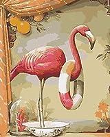 数字で描く子供たちピンクの動物フラミンゴ40X50Cmフレームなしのキャンバスペイント3つのブラシで忍耐力を高める