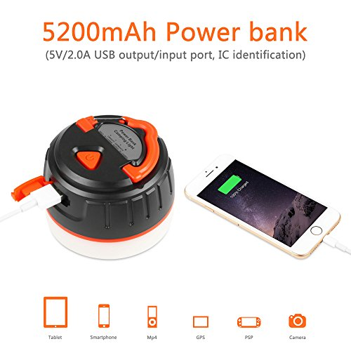 LAVIEVERT LED Camping Lantern ABS&PP USB Rechargeable,5200mAh Power Bank,5 modes(Low, High, Middle,Strobe, SOS)