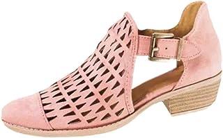 98c6987fc04b3 Yefree Chaussures à Talon Simple pour Femme Nouveau Printemps été Creux  Faible Aide Boucle Mode Chaussures