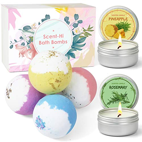 Scent-Hi Bath Bombs with 2 Scented Candles, Handmade Natural Spa Bubble Bombs and Floating Fizz, Fizzes Body Moisturize, Perfect For Bubble & Spa Bath, Pure Natural Scents, Gift For Women, Kids