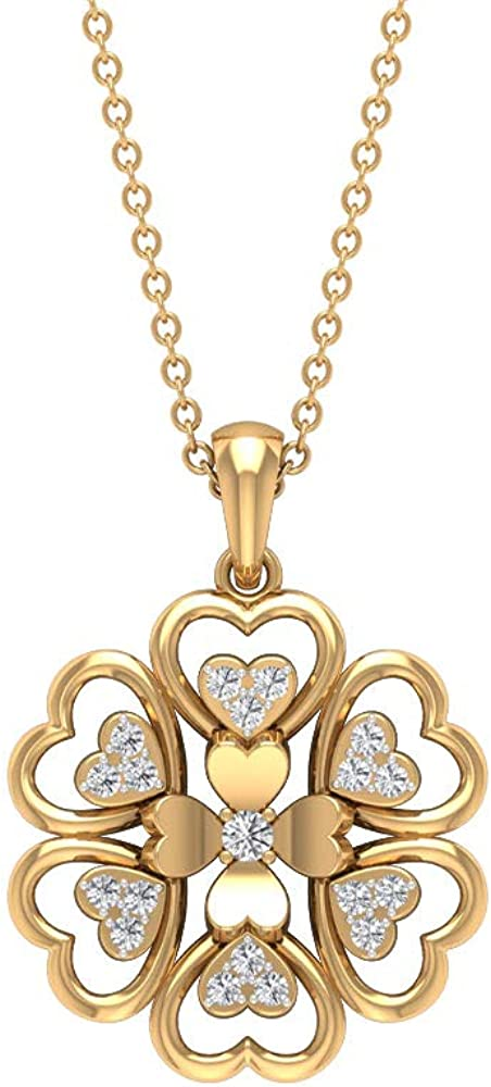 Antique 0.16CT Certified Diamond Cluster Heart Flower Pendant, Vintage Gold Engraved Heart Shaped Open Floral Necklace, Bridal Statement Charm Pendant