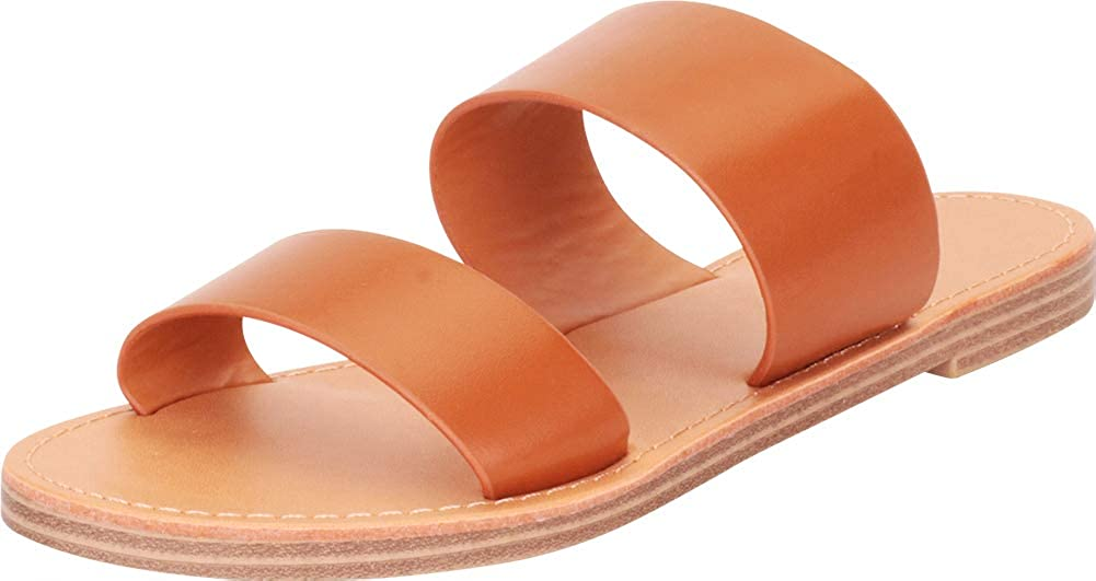 Cambridge Select Women's Classic Two-Strap Slip-On Flat Slide Sa