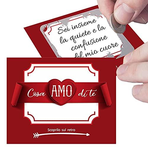 Gratta e Vinci personalizzato Ti Amo per lui o per lei - 5 biglietti per sorpresa romantica al tuo amore. Regalo originale per fidanzato fidanzata, Idea regalo San Valentino Anniversario fidanzamento