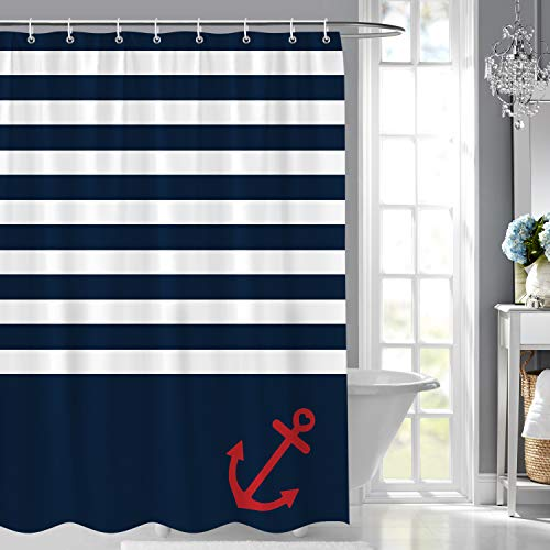 Bonhause Navy Blue Stripe Shower Curtain with 12 Hooks Nautical Anchor Decorative Bath Curtain 72 x 72 Inch Polyester Fabric Machine Washable Waterproof Bathroom Curtain