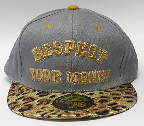 """Nouveaux temps est de l'argent Casquette de baseball Imprimé léopard Peak avec logo """"Respect de votre Argent"""" à l'avant Hip Hop Casquette Chapeau - Gr"""