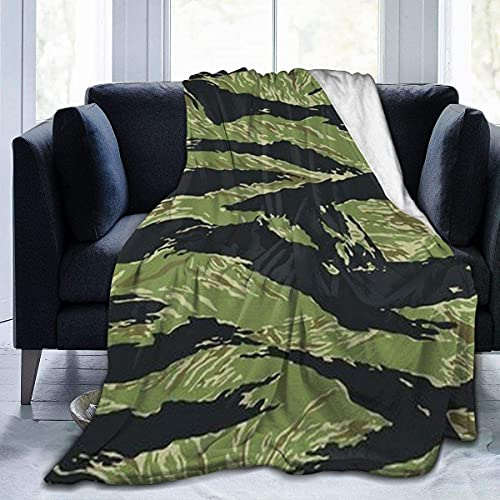 Cozy Microfiber Soft Flannel Fleece Throw Blanket Reversible with 3D Print for Couch Bed Sofa Vietnam Tiger Stripe Camo