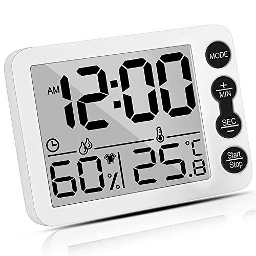 Sonline HigróMetro y TermóMetro Digital para Interiores con Reloj Despertador, Medidor de Temperatura Ambiente Preciso, Temporizador de MonitorizacióN de Humedad