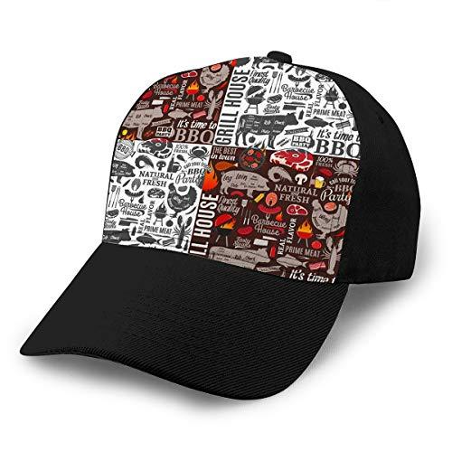 3942 Sombreros de béisbol de Hip Hop de Color de Contraste Ajustable Fondo de Barbacoa Carne de Barbacoa Verduras Iconos de Equipos de Cerveza Café Bar Restaurante Menú de Marca Psychedelic Plain Cap