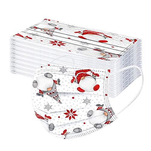 Generic 50 Stück 3 Lagig Einmal-Mundschutz für Damen Männer, Erwachsene Mündschutz mit Motiv Weihnachten Bunt Mund-Nasen-Schutz Atmungsaktiv Bandana Halstuch