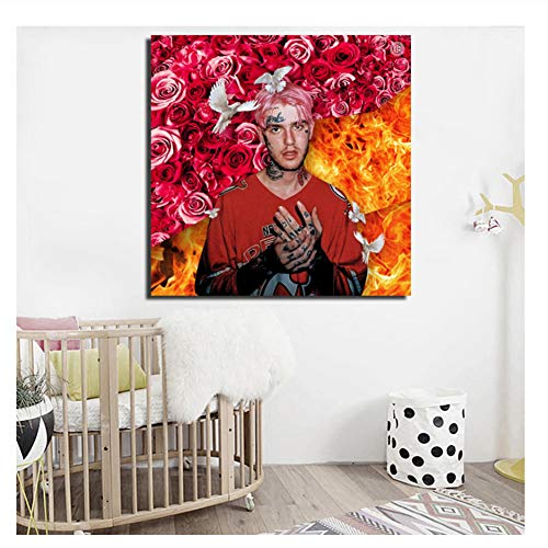 Lil Peep Album Cover Wall Art Canvas Poster and Print Canvas Pintura al óleo Imagen Decorativa para el Dormitorio Decoración del hogar-70x70cm Sin Marco