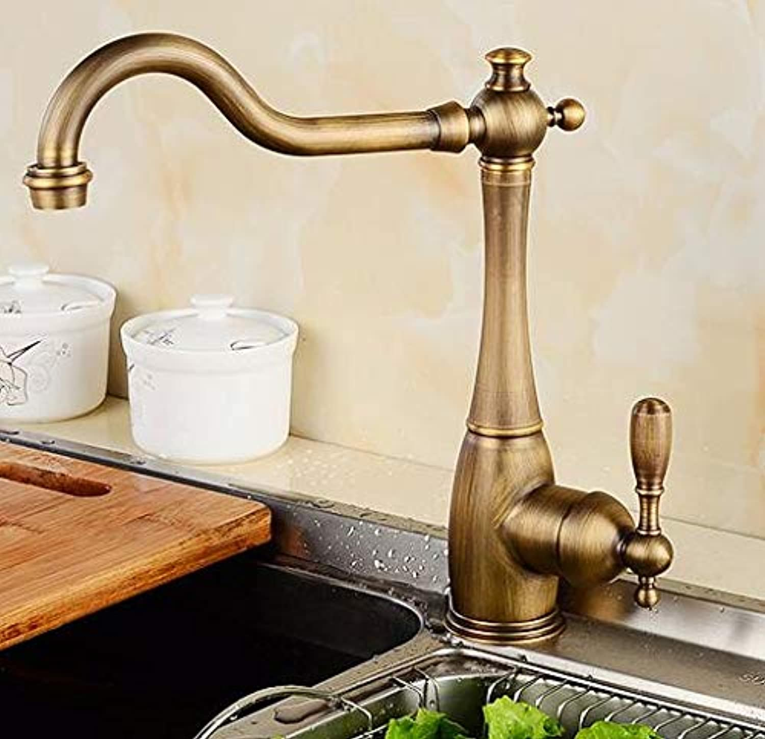 CZOOR New Arrival Brass gold Finished 360 Degree redating hot and Cold no Lead Safe Kitchen Sink Faucet,Bronze