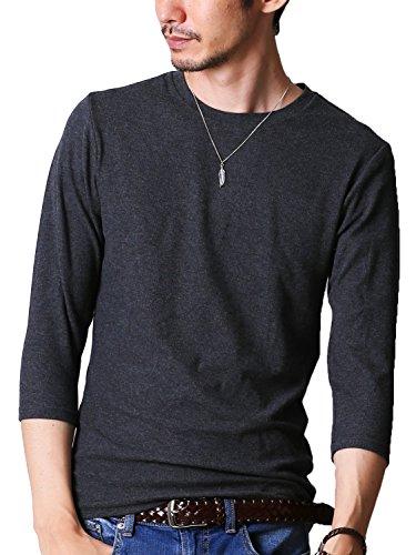 FTELA(フテラ) メンズ シャツ カットソー Tシャツ ロンTクルーネック 丸首 Vネック 長袖 7分袖 半袖 無地 シンプル スリム ダークグレー(7分袖/丸首) XL