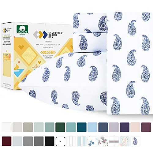 400-Thread-Count 100% Cotton Sheets for Bed - 4-Piece Paisley Blue King size Printed Sheet Set - Long-Staple Combed Cotton Bed Sheets, Sateen Weave, Fits Mattress 16'', Deep Pocket