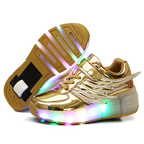 Nsasy Roller Shoes Girls Roller Skate Shoes Boys Kids LED Light up Wheel Shoes Roller Sneakers Shoes for Kids, Golden Single Wheels, Size 3.5M