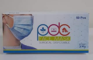 PDC 3 Ply Face Mask Surgical Disposable 50 Masks Box