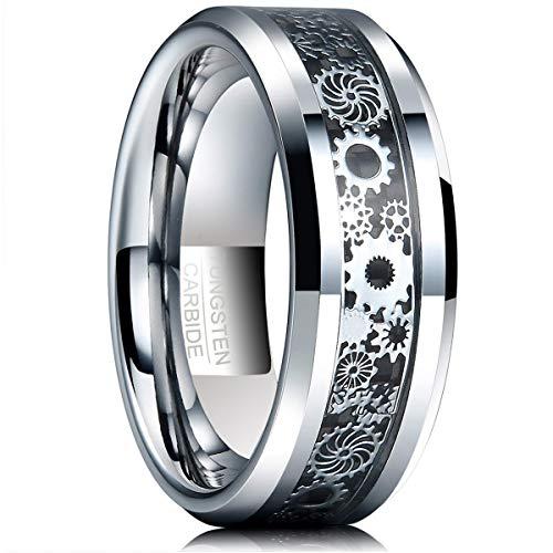 Natur Fashion - Wolfram Ring Damen Herren Partner Silber + Schwarz Kohlefasern mit Mechanischem Zahnrad Design für Lifestyle Fashion Party Fasching Hochzeit Partnerschaft Größe 67
