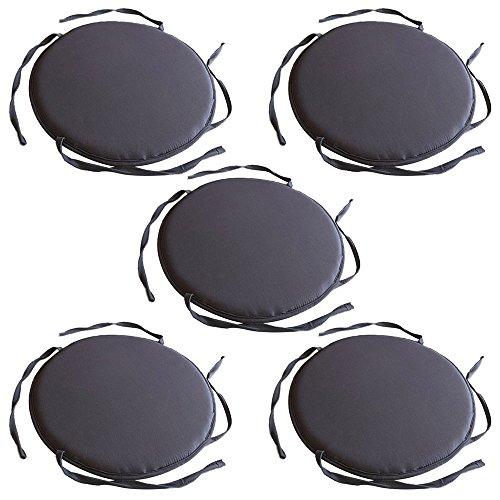 TOPmountain 5 pcs Circular Round Bistro Tie-on Kitchen Dining Patio Chair Seat Pad Cushion Furniture