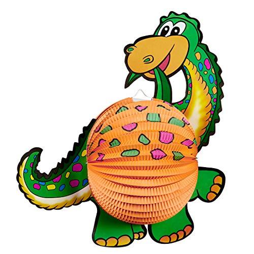 NET TOYS Niedliche Dinosaurier-Laterne für Kinder - Grün-Orange 41cm - Tierische Party-Deko Dino-Lampion Urzeit - Genau richtig für Kindergeburtstag & Lampionumzug
