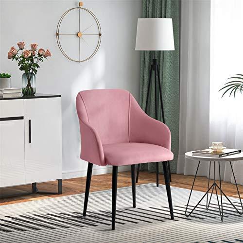Uyhghjhb - Sedia da pranzo imbottita in velluto per cucina, camera da letto, soggiorno, sedia in tessuto con braccioli e supporto per schienale e gambe in metallo, rosa