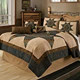 Full / Queen Bedding Set - 3 Piece - Forest Star by Donna Sharp - Lodge Quilt Set with Full/Queen Quilt and Two Standard Pillow Shams - Fits Queen Size and Full Size Beds - Machine Washable