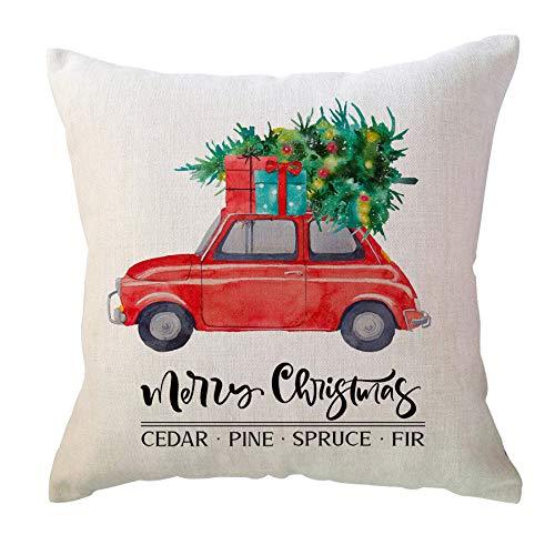 ULOVE Love Yourself Feliz Navidad manta decorativa funda de almohada 50 x 50 pulgadas rojo camión invierno vacaciones fundas de almohada casa de campo funda de cojín para sofá sofá