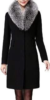 Womens Winter Lapel Wool Coat Slim Long Sleeve Overcoat Fur Collar Outwear