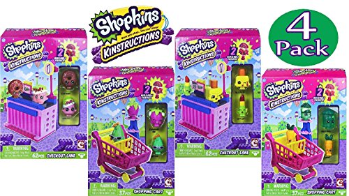 Shopkins Kinstructions Shopping Cart Style 1 & 2 and Checkout Lane Style 1 & 2 Complete Bundle - 4 Pack