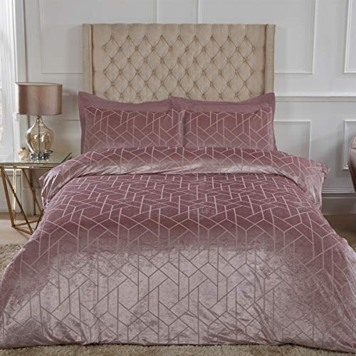 Sleepdown Geometric Crushed Velvet Abstract Blush Pink Luxury Soft Cosy Duvet Cover Quilt Bedding Set with Pillowcase - Single (135cm x 200cm)